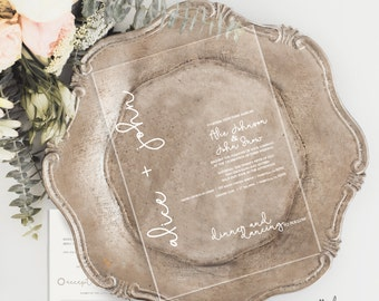 Gold / White Acrylic Standard Wedding Invitations