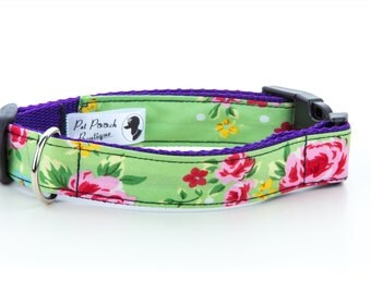 Green Vintage Floral Collar OR Lead