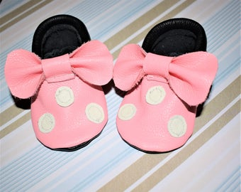 Pink Minnie Moccasins, Pink & Black Leather Baby Moccasins, Baby Moccasins, Baby Booties, Girls shoes, Baby Gifts
