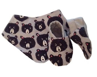 Teddy Bear Baby Shoes and Bandana Gift Set