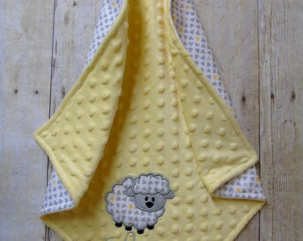 Lamb Lovey Blanket, Baby Lovey Blanket, Lamb Security Blanket, Handmade Blanket, Security Blanket, Personalized Lovey Blanket, Yellow & Gray