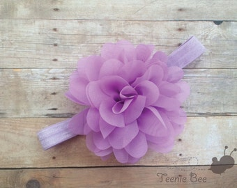 Lavender Chiffon Flower Baby Headband - Large Floral Headband - large chiffon flower headband - Purple Flower Headband - Purple Headband