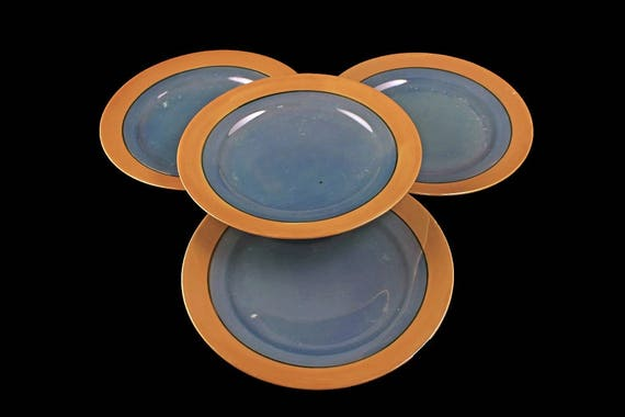 Hand Painted Lusterware Salad Plates, Set of 4, Iridescent, Made in Japan, Blue and Peach, Black Line