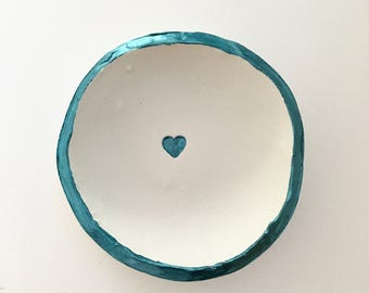 Teal Ring Dish, Personalized Ring Dish, Wedding Gift, Clay Ring Dish, Bridal Shower Gift, Anniversary Gift, Ring Holder, Jewlery Holder