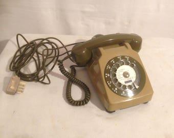 Old phone Beige & Brown functional dial Vintage