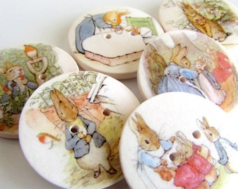 "Peter Rabbit 1"" buttons - Beatrix Potter - Storybook Buttons - Cute Kids Buttons - Rabbit Buttons - Special - Focal - Buttons - Handmade"