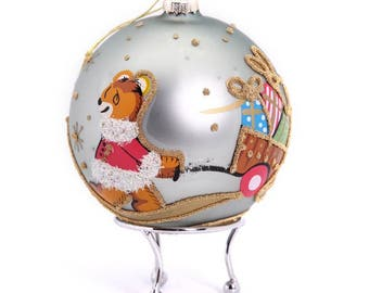 Blue Handpainted Christmas Bear with Cart