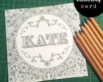 Personalised Name Colouring Card