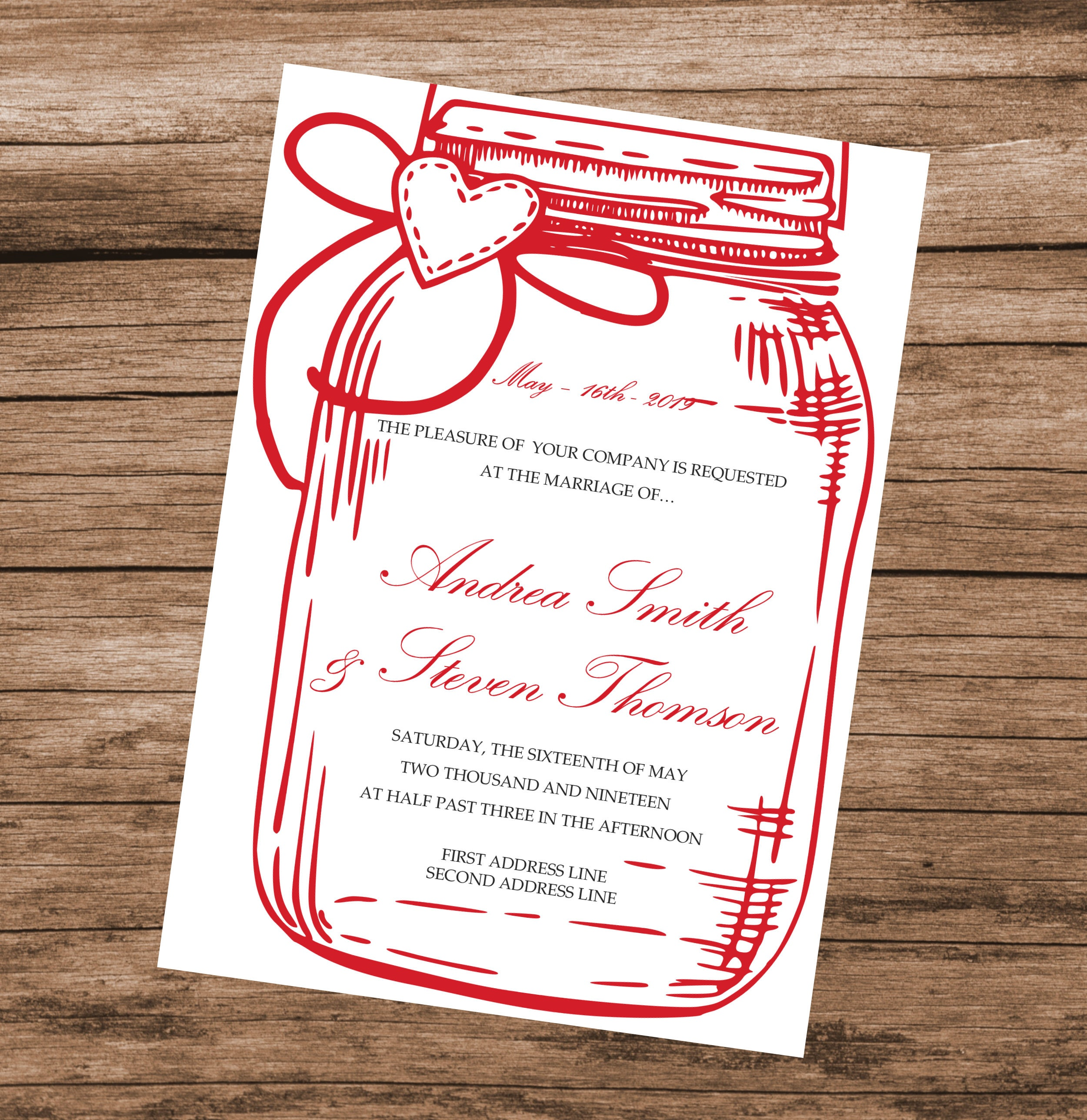 Red Mason Jar Wedding Invitation Template, DIY Red Baby Shower ...