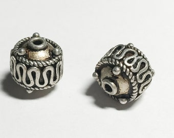 Gorgeous Bali Sterling Silver Bead Oxidized Rondelle Focal Bead 1 piece