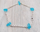 Pacific Blue Recycled Glass Anklet