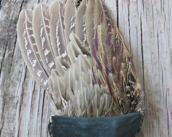 Pheasant Wing Hand Smudge Fan - Hunter Green