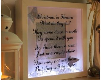 Christmas in heaven light up frame, framed quote , Christmas, framed,