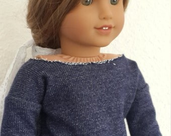 Distressed Navy sweater top for 18 inch Doll - doll clothes - top sweater- doll sweater