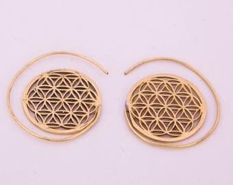 Flower of Life Spiral Earrings, Spiral Earrings, Brass Earrings, Tribal Earrings, Gypsy Earrings, Brass Spiral Earrings