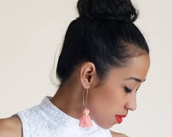 Peach tassel earrings / OLLIE