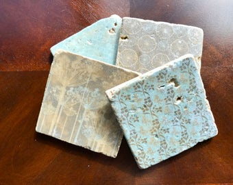 Stone Coasters, Stone Picture Coasters, Rustic Coasters, Rustic Decor, Modern Design Coasters, Picture Stone Coasters, Blue and Beige