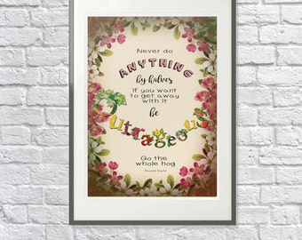 Roald Dahl 'Matilda' Quote 'Be Outrageous' Vintage Print - Childrens Nursery, Playroom, Bedroom Art, Motivation, Positivity, Confidence