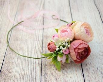 Wedding Flower headband Wedding headband Bridal headband Rustic flower headband Flower halo Rustic wreath Rustic flower crown