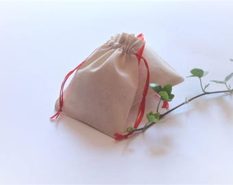 """10 natural cotton bags,muslin bags, gift bags, gift bags wedding, lavender bags, drawstring bags, size 3""""x4"""""""