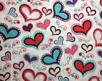VALENTINE DAY Wild Heart Fabric By the Yard, Half, FQ Red Pink Aqua White Valentine Fabric 100% Cotton Quilting Apparel Fabric 21,4r