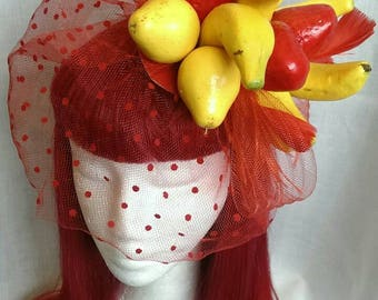 Vintage style fruity all red  fascinator with veil