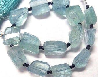 """Natural Aquamarine Faceted Nuggets, High Quality Aqumarine Faceted Nuggets beads 8"""" Strand 20 beads 75 carts  Best Aquamarine (3140)"""