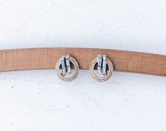 1960s 1970s Vintage Gold Tone Trifari Earrings | 60s 70s Midcentury Rhinstone Earrings