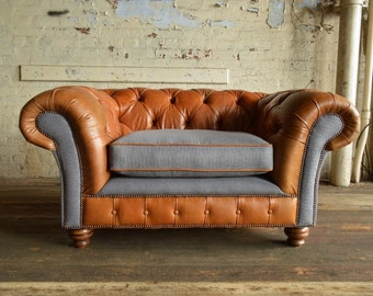 Vintage tan leather & Grey wool Chesterfield snuggle chair/loveseat 2 seater sofa. British handmade. Top quality. Bespoke. FREE uk delivery.