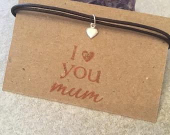 Mum, friendship bracelet , gifts for mum , gifts for her , anklet, greetings card, bracelet cards