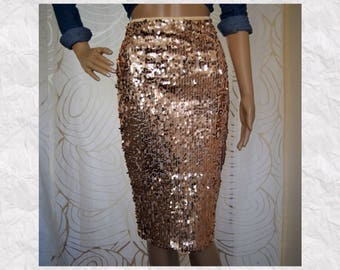 Rose Gold Oval Sequin Pencil Skirt