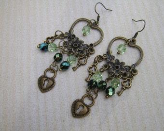 Chandelier Earrings. Key And Lock Earrings. Green Earrings. Crystal Earrings. Beaded Earrings. Long Earrings. Dangly Earrings. Drop Earrings