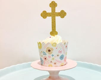 12ct Cross glitter cupcake toppers, holy cross cupcake topper, communion cupcake topper