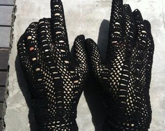 Dainty Black Cotton Crochet Gloves