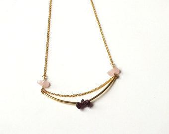 Necklace Aventura Rose / / Tan Tao: Garnet & Rose Quartz