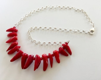 Bright Red Choker Necklace, Red Bamboo Coral, Sterling Silver Chain, Modern, Statement Necklacethehappylittlebeader