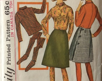 Simplicity 6189 vintage 1960's junior misses top, skirt and stockings sewing pattern size 11 bust 31.5 waist 24.5