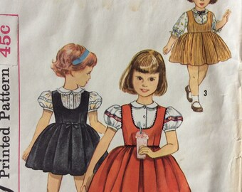 Simplicity 3724 girls jumper & blouse size 5 vintage 1960's sewing pattern  Uncut  Factory folds