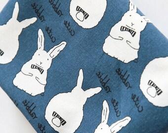 Cotton linen fabric, Bunny rabbit patterns, Home decor fabric Heavy weight by half yard - 1/2 yard