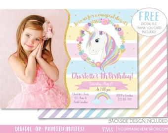 Unicorn Invitation, Unicorn Party Invite, Magical Rainbow Unicorn Birthday Invitation Printable With Photo, Free Thank You Card