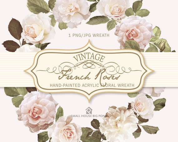 Watercolour Flower Clip Art -  Handmade, watercolour clipart, digital download, instant download - Vintage French Roses Wreath