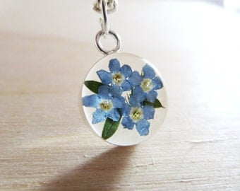 Forget me not necklace - Real Flower necklace-resin  necklace