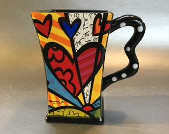 Romero Britto Surreal Abstract Art Pottery Coffee Mug Cup