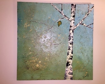 Birch Tree Oil Painting with Gold Leafing, Birch Tree Painting, Oil Painting, Textured Painting, 36x36 Painting, Gold Leaf Painting