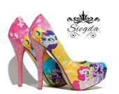 My Little Pony Ombre- Glitter- Heels - Choose Your Shoe Style- Wedding- Geek- Bride- Gift- Comic Book- Cosplay- Christmas- Custom
