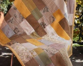 Patchwork Quilt. Throw rug. Baby blanket.  Patchwork blanket.  Cotton blanket.  Yellow and Tan Patchwork Quilt
