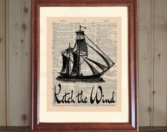Sailing Dictionary Print, Sailboat Quote, Sailing Print, Sailing Wall Art, Gift for Sailor, Nautical Print, Sailing Gift, Sailboat Drawing