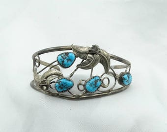 Vintage Sterling Silver And Kingman Mine Turquoise Small Cuff Bracelet Southwest Native American Design #KINGMAN-CF4