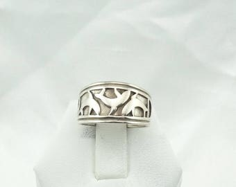 Vintage Leaping Dolphins Sterling Silver Band/Ring. Size 6 3/4  #DOLPHINS-SR3