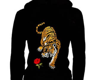 Cute Junior Size Thin Zip Up Hoodie Roses & Tiger Patched Sweater w/ Kangaroo Pockets S~3XL Stretch